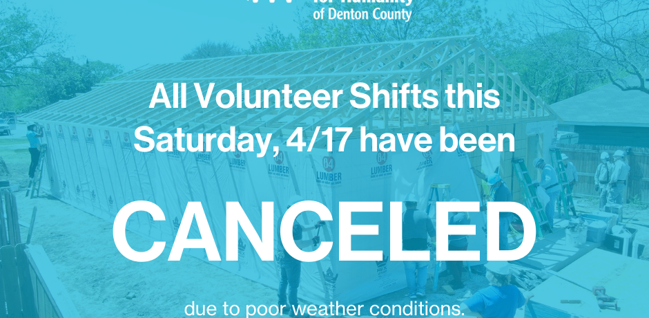 Habitat for Humanity Event Cancelled April 17, 2021